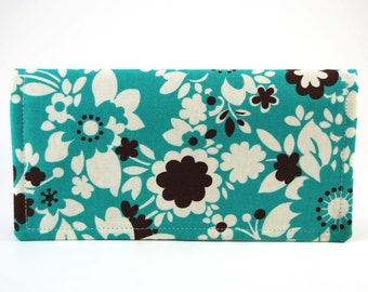 Fabric Women's Wallet, Fabric Checkbook Cover, Checkbook Wallet, Checkbook Holder, aqua blue brown floral polka dot