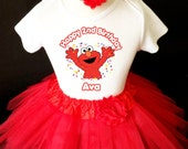 Red Elmo 2nd Second Girl Birthday Tutu Outfit Custom Personalized Name Age Party Shirt Set