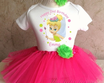 Tinkerbell Pink Green Pixie Fairy first 1st 2nd 3rd 4th 5th 6th 7th Birthday Personalized Custom Name Age Shirt & Tutu Set Girl Outfit
