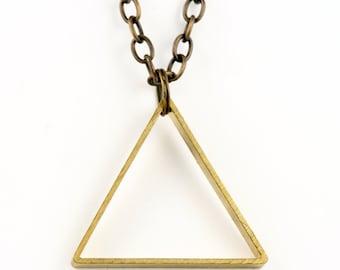 Large Triangle Necklace, Geometric Jewelry, modern style, large pendant necklace, geometric necklace