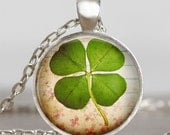 Four leaf Clover jewelry , Lucky clover leaf necklace  , good luck jewelry, shamrock necklace , clover necklace, saint patrick's day jewelry