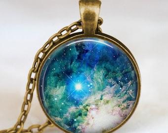 Beautiful nebula pendant  , Space sky necklace, Space jewelry, galaxy space necklace,blue sky jewelry, constellation art pendant