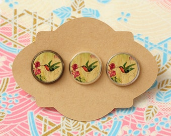 10 pcs handmade humming bird - earrings, pendant, ring - 12mm (PW-064)