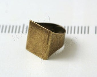 5pcs very strong big antique brass finish rectangle adjustable ring blanks 25mm R11C