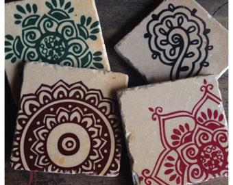 Exotic Henna stone coasters