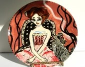 dessert plate decorative plate lady and poodle brown red black figurative animals dog