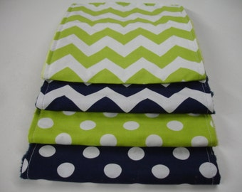 Navy and Lime Medium Chevron and Dots Baby Burp Cloth Set with Minky