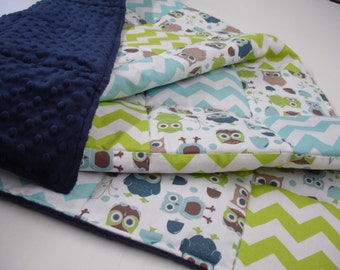 Modern Owls  and Chevron Patchwork Baby Blanket You Choose Size MADE TO ORDER No Batting