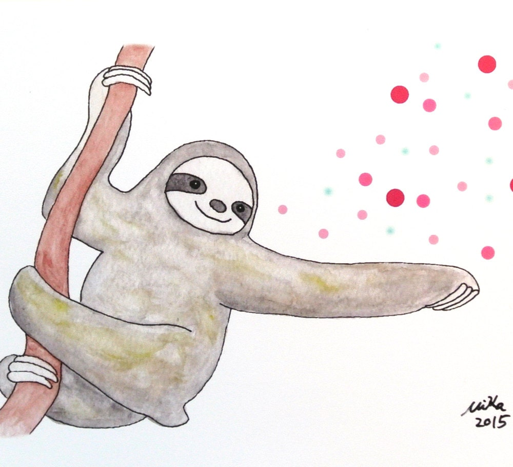 Sloth Illustration Print Sloth Watercolor Painting Print Home