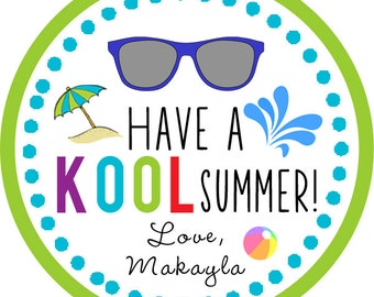 Have a Kool Summer / end of school / teacher Thank You PERSONALIZED Stickers, Tags, Labels, or Cupcake Toppers, various sizes