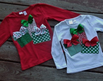 """Custom  Girls Christmas Gifts """"O CHRISTmAS TReE"""" collection  tee shirt red or white sizes 6-12-18-24 mth 2T 3/4 - 5/6 - 7/8 - 9/10"""