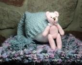 SALE Photography Prop Set - Blanket, Bear and Hat/Nightcap