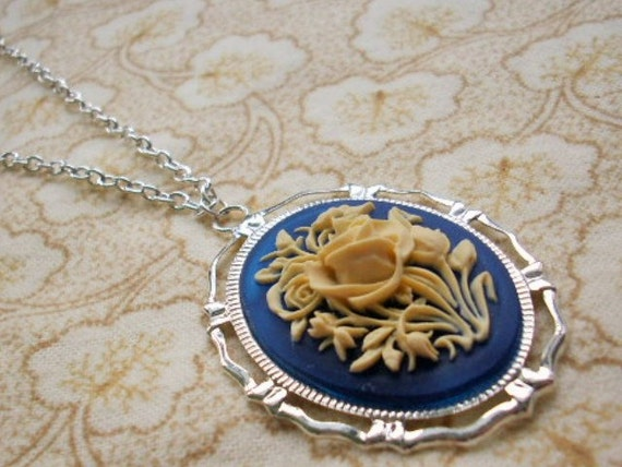 Blue & Ivory Rose Cameo Silver Necklace