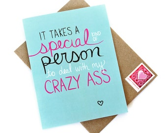 Funny Valentines Card Crazy Ass - Mature