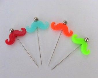 SHOP CLOSING SALE - Mustache Decorative Stick Pins - Set of 4