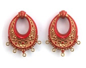 Vintage Red with Gold Floral Chandelier Pendants Earrings 40x30mm (2) pnd065A