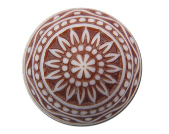 Vintage Etched Mosaic Brown and White Cabochons 12mm cab827C