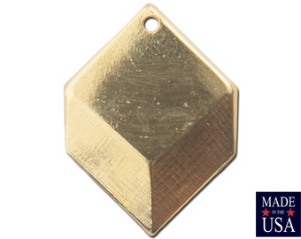 1 Hole Gold Plated Geometric Square Charms Drops (6) mtl076H