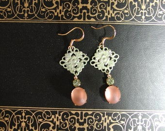 Pink frosted earrings glass vintage green filigree patina lace filigree