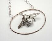 Framed Carpenter Bee Cast Necklace in Sterling Silver