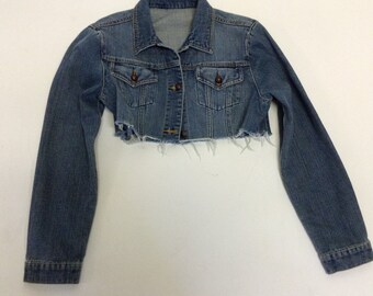 Tattered Cropped Vintage  denim jacket