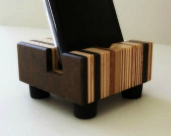 Wood iPhone Dock, Charging Stand, Modern, Recycled Wood, iPhone Accessories for the Home, iPhone 6, iPhone 5s, iPhone 5c, Striped Design