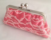 Coral & Ivory Lace Clutch