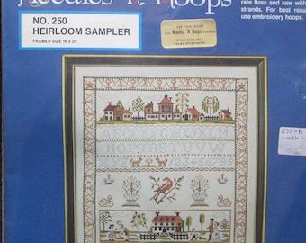 Needles N Hoops Heirloom Sampler Cross Stitch Kit