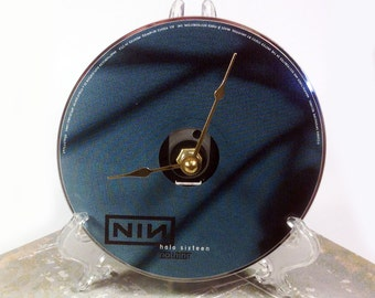 CD Clock, Desk Clock, Wall Clock, Nine Inch Nails - Halo 16, Recycled Music Compact Disc, Upcycle, Battery, Wall Hanger & Stand