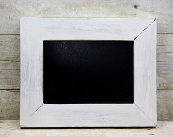 Chalkboard Frame Rustic White 5x7 Painted Frame Shabby and Chic Wedding or Photo Prop