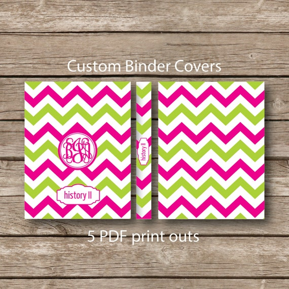 Items similar to Printable Binder covers, monogram, school ...
