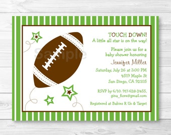Cute Football Baby Shower Invitation / Football Baby Shower Invite / Sports Baby Shower / Boy Baby Shower / PRINTABLE