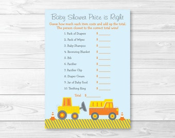Construction Truck Price is Right Game / Construction Baby Shower / Truck Baby Shower / Baby Boy / Baby Shower Game / INSTANT DOWNLOAD A387