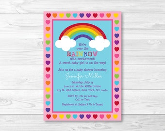 Rainbow Baby Shower Invitation / Rainbow Baby Shower / Rainbow Hearts / Over the Rainbow / Baby Girl Shower / PRINTABLE