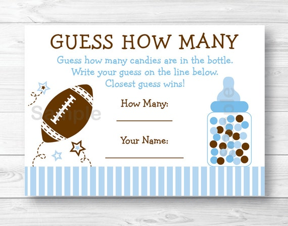 Baby Showers How Many ~ Football guess how many game baby shower sports