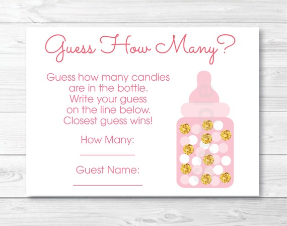 pink gold glitter guess how many baby shower pink and gold