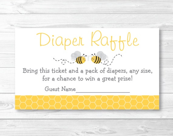 Yellow Grey Bumble Bee Printable Baby Shower Diaper Raffle Tickets