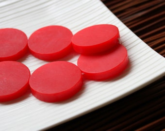 Red Resin Beads, Large Red Resin Coin Beads (3) 30mm