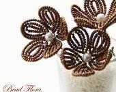 flower girl beaded flower hair pins, bronze copper brown French beaded flower