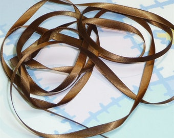 TURFTAN BROWN DouBLe FaCeD SaTiN RiBBoN, Polyester 1/4 inch wide, 5 Yards