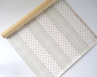 1940s Vintage Wallpaper • Partial Wallpaper Roll • Polka Dots and Stripes