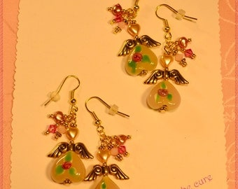 2 pairs-Pink Angel Heart Lampwork and Crystal Earrings