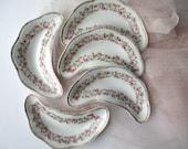 Antique Scherzer Mignon Bavarian Pink Green Rose Bone Dishes Set of Five,  Cottage Style