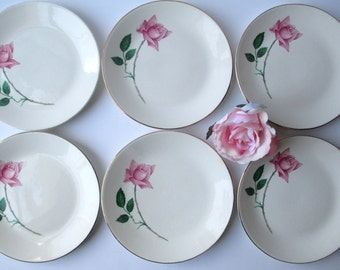 Pink Rose Bread and Butter Plates Set of Six - Vintage Chic