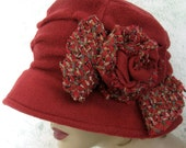 Womens Brimmed Hat Pattern With Side Pleating And Rolled Rose Trim Instant Download
