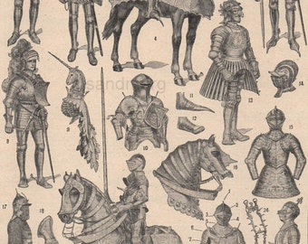 Vintage French Chart  of Armor Late Medieval to Early Renaissance Cheri Herouard