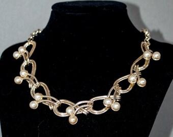 Pearl & Gold Swirl Choker Necklace