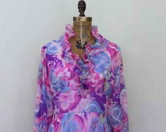 vintage 1970s MOD RUFFLE Maxi Dress - pink + purples + periwinkle + magenta - size medium to large