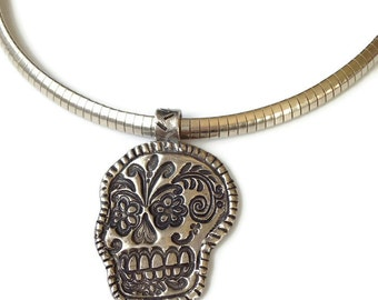 Day of the Dead, Suga Skull, Calavera , Fine Silver Pendant on Sterling Silver Omega Chain