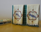 Vintage Embroidered His and Hers Hand Towels